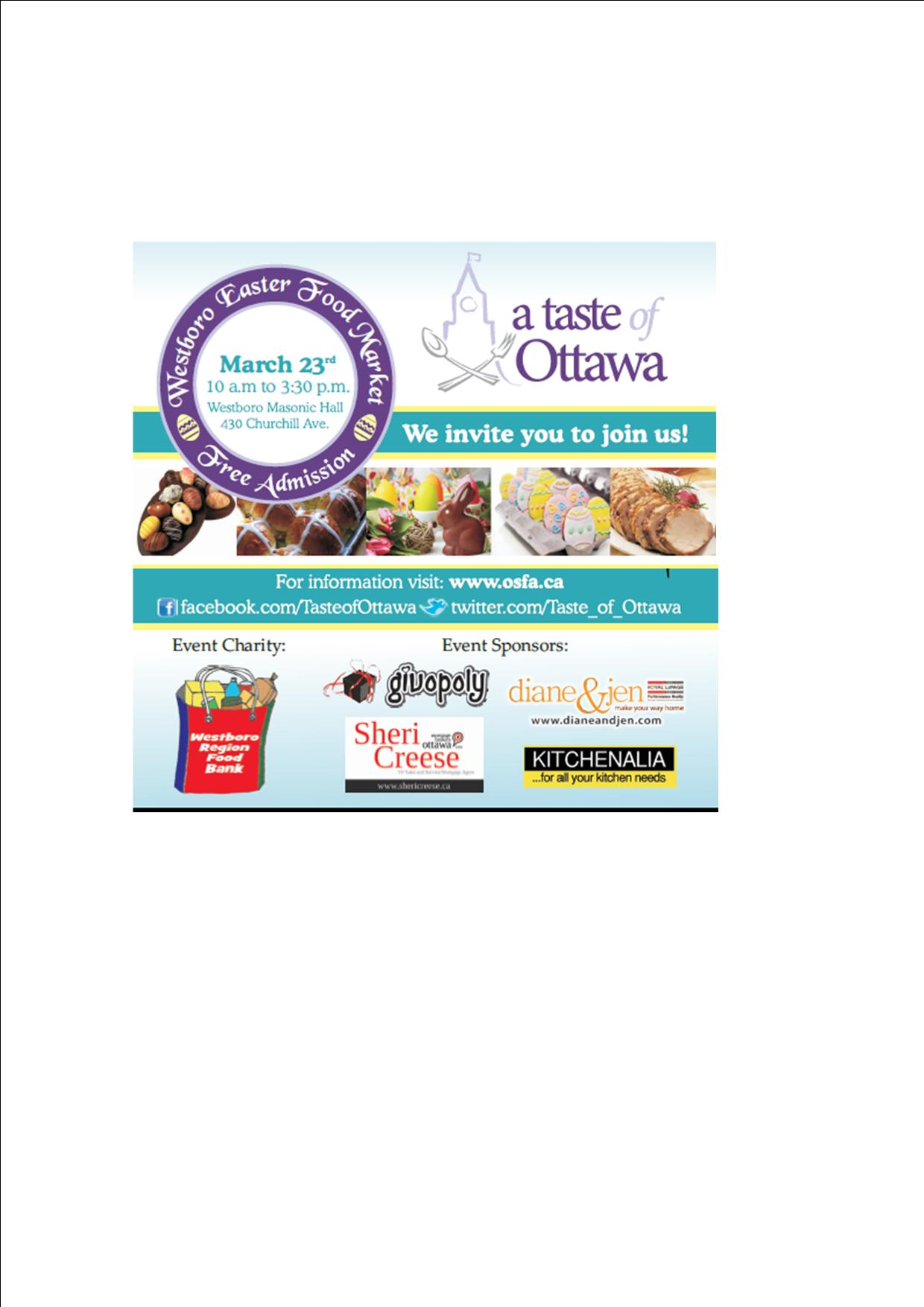 Taste Of Ottawa Westboro Easter Food Market March 23rd From 10 Am To 3 30 Pm Hello Westboro